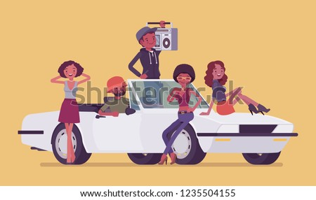 Cabriolet car with teens. Group of black men and women enjoy ride and music, happy young friends, having summer leisure, road trip or travel together. Vector flat style cartoon illustration