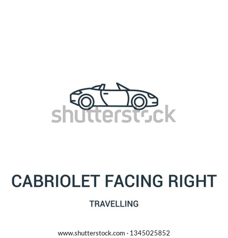 cabriolet facing right icon vector from travelling collection. Thin line cabriolet facing right outline icon vector illustration. Linear symbol for use on web and mobile apps, logo, print media.