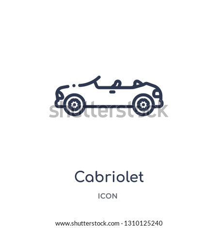 cabriolet icon from transportation outline collection. Thin line cabriolet icon isolated on white background.