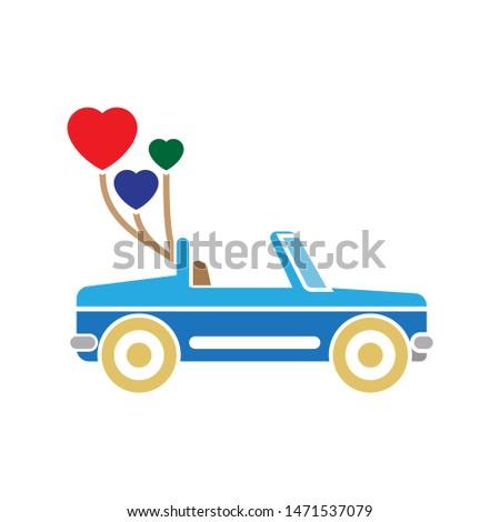 cabriolet love icon. flat illustration of cabriolet love - vector icon. cabriolet love sign symbol