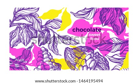 Cacao paint template. Tropical background, color jungle. Vector nature art sketch, organic design. Natural chocolate food, aroma cocoa drink. Fresh harvest. Hand drawn paradise card