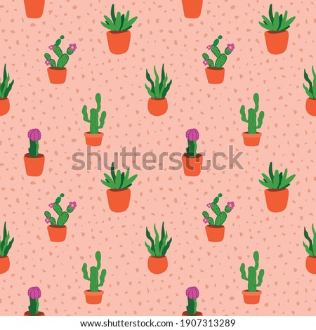 cacti pattern.cacti seamless pattern.Hand drawing decorative seamless pattern cacti.Flower pots seamless pattern with cacti.Modern design for fashion, print, poster, postcard, textile, Fabric print.