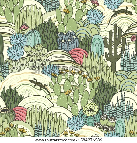 Cacti, succulents and lizards on outdoor, floral landscape, seamless pattern, environment. Vector hand drawn illustration in vintage style, colorful print.