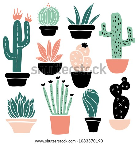 Cactus and succulents set, cute colorful hand drawn flower pots. Flat style, doodle home plants. Botany illustration. Vector. Isolated