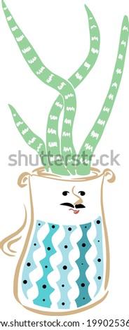 cactus dad in a ceramic pot a