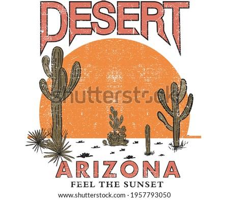 Cactus desert vector design for t-shirt. desert vibes arizona vector artwork design. sunset desert vector.