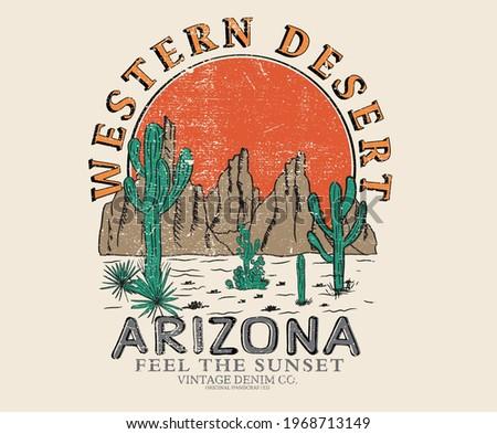 Cactus desert vibes t-shirt design.  western desert design artwork for apparel and others Stockfoto ©
