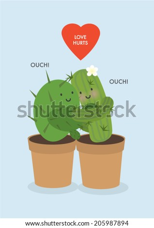 cactus   hug  love hurts vector