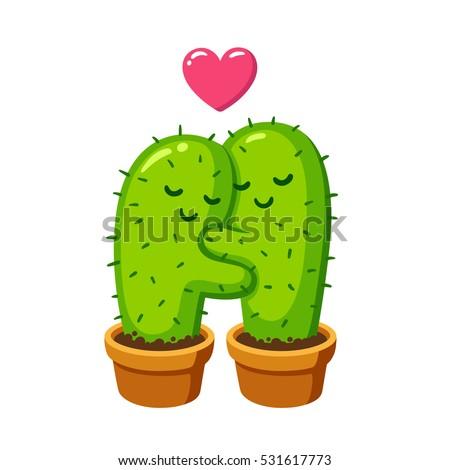 cactus hug vector drawing cute