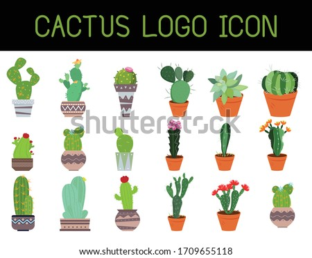 cactus logo icon set, Vector illustration, business cactus icon, creative cactus logo design, Cactus logo. Parallel rounded lines style illustration,Cactus logo creative vector illustration set design