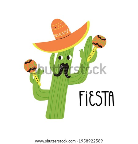 Cactus man character with mustaches in a sombrero hat plays maracas. Fiesta or Party in Spanish hand lettering. Cartoon vector isolated illustration. Foto stock ©
