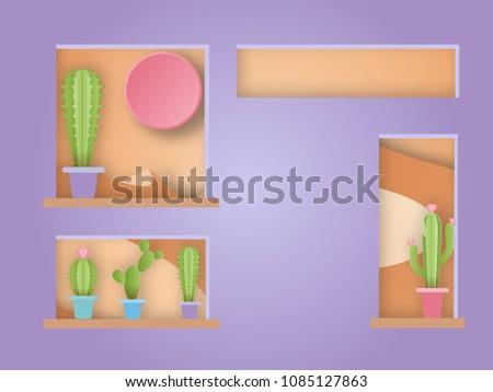 cactus on window and desert