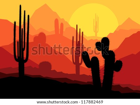 Cactus plants in desert sunset vector background