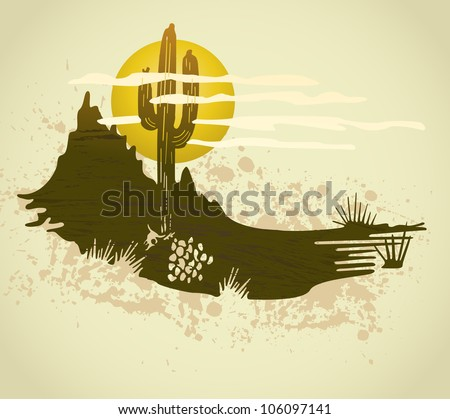 Cactus saguaro grunge background. Vector card