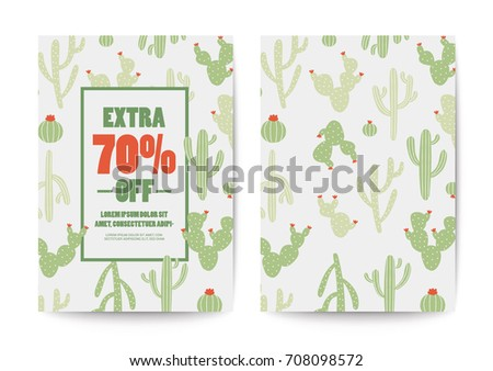 Cactus sale poster and flyer design