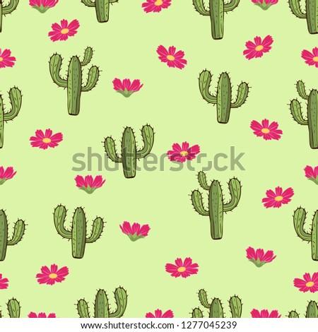 cactus seamless pattern  hand