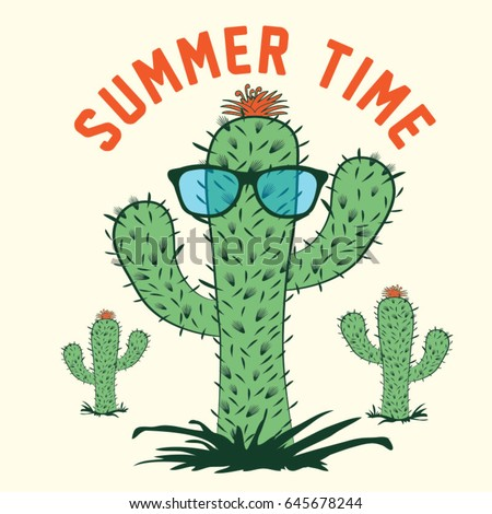 Cactus summer time typography, tee shirt graphics, vectors