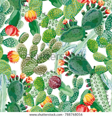 Cactus vector seamless pattern white background. Exotic wallpaper