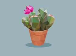 Cactus with pink flower low polygonal design