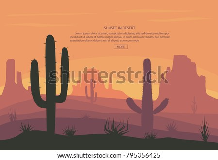 cactuse and mountains in desert