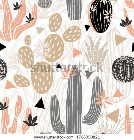 Cactuses succulents wild seamless pattern flowers colorful watercolor bright collections. Cacti beautiful trendy fashion fabric pattern. Hand drawn vector illustration. Stock photo ©