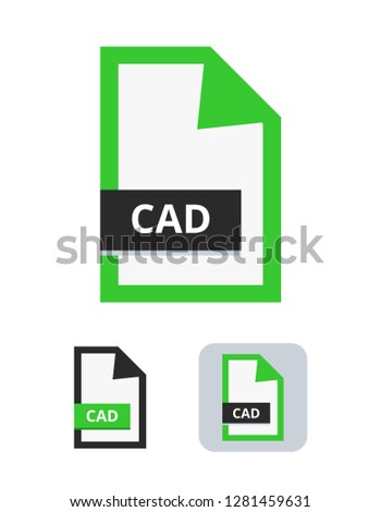 cad file flat vector icon. Symbol of Computer-aided design format – CAD for 2D or 3D design. Symbol is isolated on a white background.