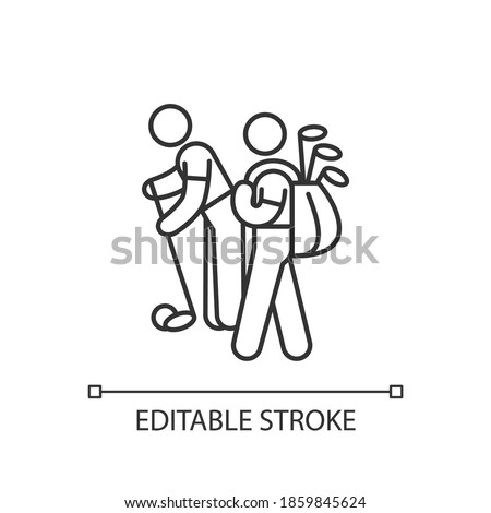 Caddy linear icon. Providing support to professional golf players. Caddie-master. Golfer. Thin line customizable illustration. Contour symbol. Vector isolated outline drawing. Editable stroke Foto stock ©