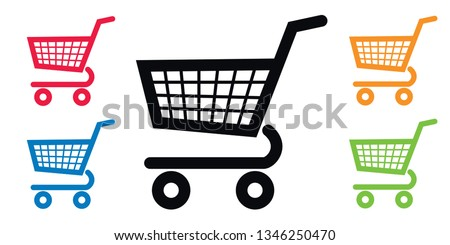 Caddy pictograms of different colors, to symbolize local commerce, supermarket and consumption. Foto stock ©