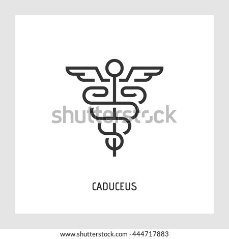 Caduceus icon. Medicine and health care concept. Modern thin line sign. Premium quality outline pictogram. Stock vector illustration in flat design.