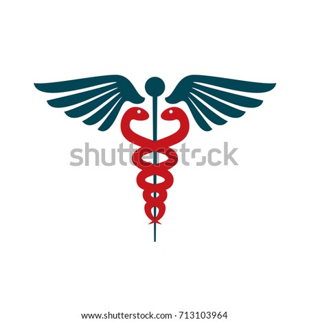 Caduceus medical symbol isolated on background. Vector stock.