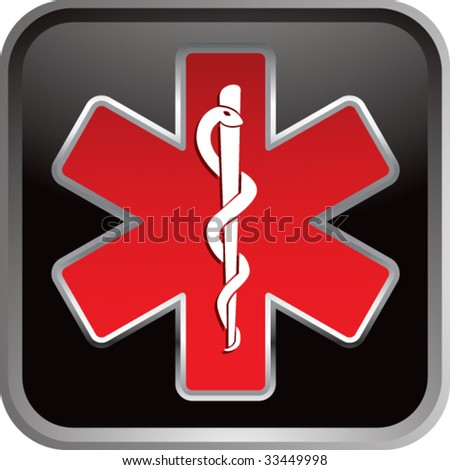 caduceus medical symbol on black web button