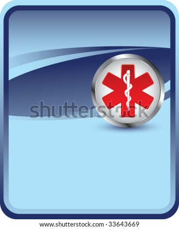caduceus medical symbol on blue background