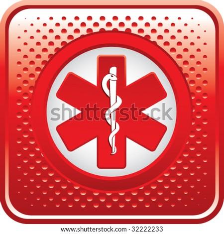 caduceus medical symbol on red halftone web button