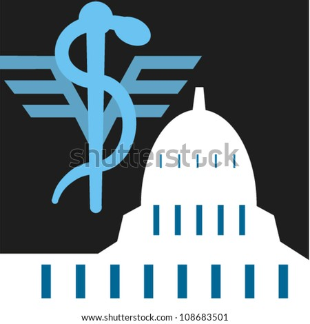 Caduceus symbol and the capitol in Washington, D.C. - stock vector