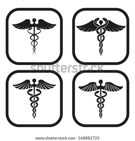Caduceus symbol - four variations