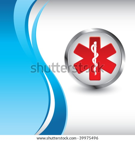 caduceus symbol on vertical blue wave background