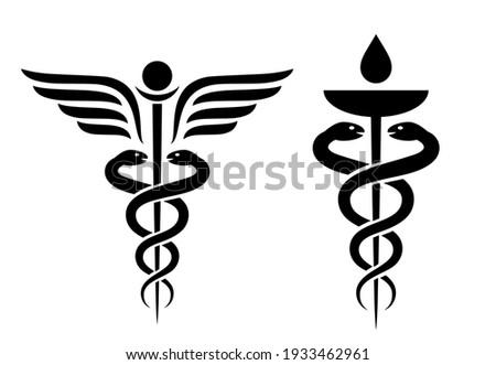 Caduceus vector icon, medical winding snake symbols isolated on white background