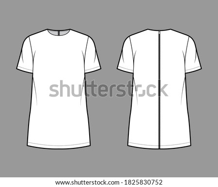 Cady tunic technical fashion illustration with crew neckline, short sleeves, oversized, back zip fastening, elongated hem. Flat apparel shirt template front back white color. Women men top CAD mockup Zdjęcia stock ©