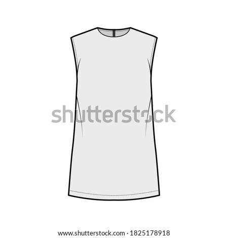 Cady tunic technical fashion illustration with crew neckline, sleeveless, oversized, back zip fastening, elongated hem. Flat apparel shirt template front grey color. Women men, unisex top CAD mockup Zdjęcia stock ©