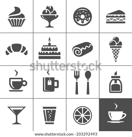 cafe and confectionery icon set