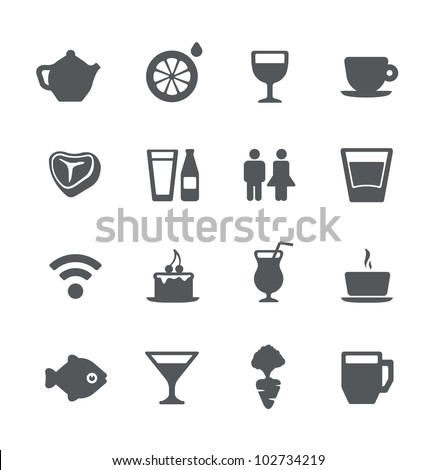 Cafe and restaurant simple minimalistic icons set