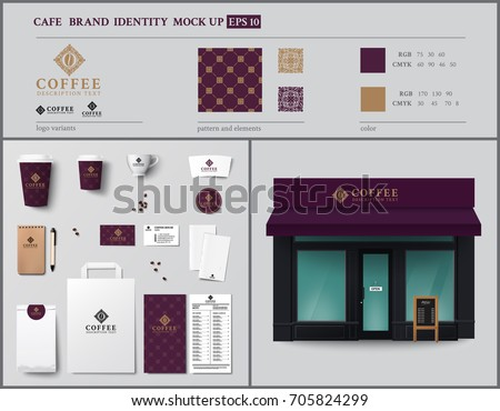 Cafe and show-window brand identity template design set. Vintage style. Vector illustration #705824299