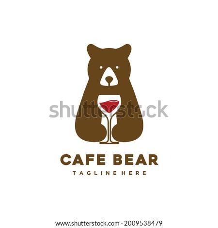 cafe bear logo design hold