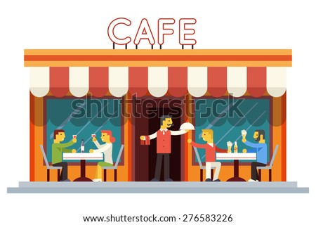 cafe building facade customer