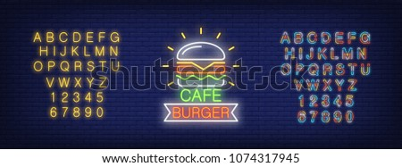 Cafe burger and alphabet neon sign set. Hamburger, ribbon shape, yellow and colorful letters and numbers. Night bright advertisements. Vector illustrations in neon style for fast food restaurant