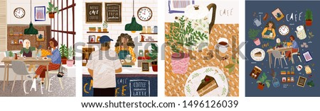 Cafe. Cute vector illustration of people sitting in a restaurant, a man making an order in a bar, a table with food in the kitchen and many objects on a cafe theme. Drawings for poster or background