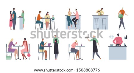 Cafe flat composition with isolated compositions of people and restaurant furniture with food on blank background vector illustration