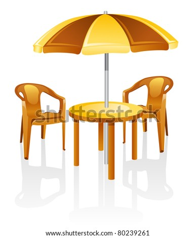 Cafe, garden furniture: table, chair, parasol.  Isolated on a white background.