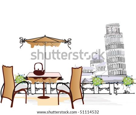 Cafe in Pisa, The Leaning Tower of Pisa