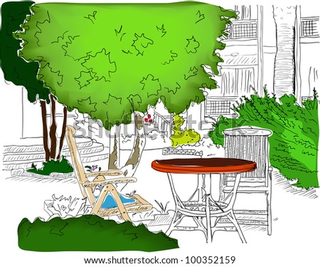 Cafe in the Garden. Vector illustration EPS8